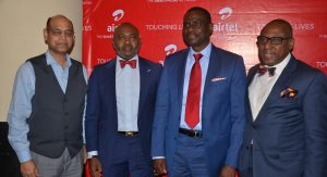 Managing Director and Chief Executive Officer, Airtel Nigeria, Mr. Segun Ogunsanya (2nd right); Chief Technical Officer, Airtel Nigeria, Mr. Awadesh Kalia (left); Director, Corporate Communications & CSR, Airtel, Emeka Oparah (2nd left) and Managing Director, CMC Connect Burson Marsteller, Mr. Yomi Badejo-Okusanya at the launch of Airtel Touching Lives Season Three held in Lagos on Thursday.