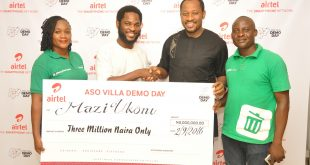 Co-founder, Recycle Point, Chioma Ukonu; Director, Brand & Advertising, Enitan Denloye; Founder of Recycle Point, Mazi Ukonu and Executive Director, Recycle Point, Taiwo Adewole during the prize presentation to the winners at Airtel Headquarters on Friday in Lagos.