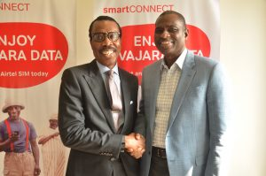 Managing Director and Chief Executive Officer, Financial Derivatives Company Limited, Mr. Bismarck Rewane and Managing Director & Chief Executive Officer of Airtel Nigeria, Segun Ogunsanya, at the 5th edition of Employee Knowledge series at Airtel Headquarters today (October 13, 2016) in Lagos.