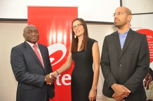 Human Resources Director, Airtel Nigeria, Gbemiga Owolabi; Country Manager,Human Network International, Harriet Blest and Vice President, Digital, Data & VAS, Airtel Nigeria, Nitin Anand at the launch of Airtel 321 Service at the Airtel Headquarters, Banana Island on Thursday, November 10, 2016
