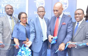 Executive Director, Personal and Business Banking, Stanbic IBTC Bank, Mr. Babatunde Macaulay; Chief Risk Officer, Stanbic IBTC, Mrs. M'fon Akpan; Chief Executive, Stanbic IBTC Bank, Mr. Yinka Sanni; Founder and Executive Chairman, Zinox Technologies Ltd, Mr. Leo Stan-Eke and Deputy Managing Director, Stanbic IBTC Bank, Dr. Demola Sogunle; during the commissioning of Stanbic IBTC Bank's first digital branch located at Maryland Mall, Lagos on Wednesday, December 14, 2016,