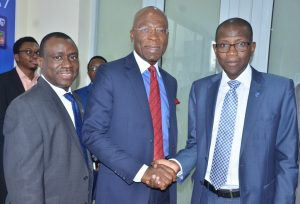 Deputy Managing Director, Stanbic IBTC Bank, Dr. Demola Sogunle; Founder and Executive Chairman, Zinox Technologies Ltd, Mr. Leo Stan-Eke and Chief Executive, Stanbic IBTC Bank, Mr. Yinka Sanni; during the commissioning of Stanbic IBTC Bank's first digital branch located at Maryland Mall, Lagos on Wednesday, December 14, 2016,