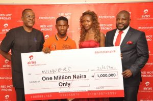 L-R. Head, Consumer Protection Council, Lagos Zone, Joshua Ngada; N1million Naira cash prize winners, Olawunmi Olaosebikan; Chinwe Okpanumee and Regional Operations Director, Lagos Region, Airtel Nigeria, Oladokun Oye at the Airtel Red Hot promo  prize presentation that held in Lagos on Wednesday, 21st of December, 2016.