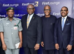 L-R : Aliyu Toro, Chief Superintendent of Customs; Adesola Adeduntan, MD/CEO First Bank of Nigeria Limited and Subsidiaries; Bayo Adeniji, Director, First Street Limited; and  Gbenga Shobo, Deputy Managing Director, First Bank of Nigeria Limited at the FirstLounge launch …Thursday