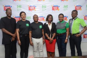 L-R: Joshua Nggada, Head (Lagos Office), Consumer Protection Council; Adaeze Udensi, Executive Direct, Retail/SME Bank Directorate of Heritage Bank; Jude Monye, Executive Director, Enterprise Risk Management and Control; Seyi Oreagba, Senior Legal Officer, Lagos State Lotteries Board; Mary Akpobome, Executive Director, Business Bank; Niyi Adeseun, Executive Director, Service Bank during Heritage Bank's maiden Happy Days Promo draws in Lagos, yesterday.