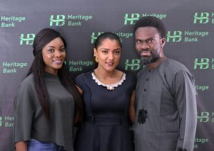 R-L: Fela Ibidapo, Group Head, Corporate Communications, Heritage Bank Plc; Omobolaji Mogaji, Media Sales Executives at Multichoice and Gifty Powers, Big Brother Naija's housemate, during her visit to the bank's head office in Victoria Island Lagos, weekend.