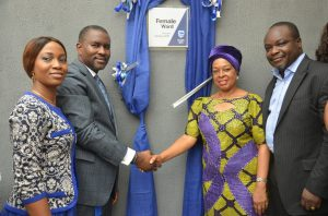L-R: Chief Executive, Stanbic IBTC Asset Management Ltd (SIAML), Mrs. Bunmi Dayo-Olagunju; Executive Director, Investments, Stanbic IBTC Pension Managers Ltd, Mr. Dele Sotubo; Board Member, Health Service Commission, Lagos State, Dr Tokunbo Oluwole; and Medical Director, Ebute Metta Health Centre, Lagos, Dr. Olusegun Ogboye; at the commissioning of the female and children's wards of Ebute Metta Health Centre, revamped by Stanbic IBTC's Wealth Group on Monday, February 6, 2017