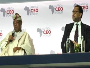 L – R: Oba Otudeko, CFR, Group Chairman,  FBN Holdings Plc and Phuthuma Nhleko, Executive Chairman, MTN Group, at a panel session at the Africa CEO Forum 2017 in Geneva.