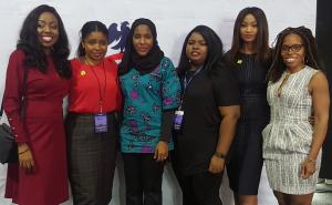 Stephanie Obi, Founder/CEO ST Hub; Joy Chukwu, Founder CEO, Smart Hive; Halima Dangote, Executive Director, Dangote Industries Limited; Morenike Hemba, Novaria Trust; Thelma Chukwu, Founder/CEO, Roomies Connect and Ngozi Odita, Executive Director, Social Media Week Lagos