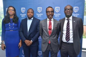 L-R: Head, Marketing and Communications, Stanbic IBTC, Mrs. Nkiru Olumide-Ojo; Deputy Managing Director, Africa Diving Services Ltd, Olujide Asa; CEO, Financial Derivatives Company Ltd, Bismarck Rewane; and Executive Director, Personal and Business Banking, Stanbic IBTC Bank, Mr. Babatunde Macaulay; at a client engagement session organized by Stanbic IBTC in Lagos on Tuesday, March 14, 2017