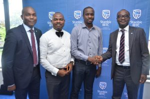 L-R: Head, Commercial Banking, Personal and Business Banking (PBB), Stanbic IBTC Bank, Remmy Osuagwu; CEO, Spendour Communications Ltd, Godfrey Emmanuel; Co-Founder, Co-Creation Hub Nigeria. Femi Longe; and Executive Director, Personal and Business Banking, Stanbic IBTC Bank, Mr. Babatunde Macaulay; at a client engagement session organized by Stanbic IBTC in Lagos on Tuesday, March 14, 2017.
