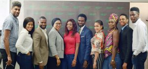 L-R: Offiong Anthony (Thin Tall Tony), Ese Eriata (Ese), Ekemini Ekerette (Kemen) Raliat Oyetunde, a principal SME Consultant to Heritage Bank/CEO of Prinsult Global; CoColce Sowode (Coco-Ice), Fela Ibidapo, Group Head, Corporate Communication of the bank; Gifty Powers, Uriel Oputa (Uriel), Miyonse Oluwaseyi (Miyonse) and Somadina Anyama (Soma), during the bank's hosting of Ex-Housemates of the Big Brother Naija reality show and other 21st century emerging entrepreneurs to business breakfast meeting.