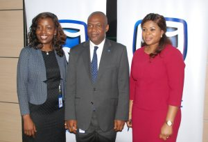 Chief Operating Officer, Sakeenat Bakare;  Chief Executive,  Mr. Anselem Igbo; and Head, Business Development, Ibiyemi  Mezu; all of Stanbic IBTC Insurance Brokers Ltd, at a media interactive forum organized by the company in Lagos on Thursday, April 20, 2017