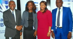 Chief Executive,  Mr. Anselem Igbo; Chief Operating Officer, Sakeenat Bakare; Head, Business Development, Ibiyemi  Mezu; and Head, Technical Operations, Wale Bello; all of Stanbic IBTC Insurance Brokers Ltd, at a media interactive forum organized by the company in Lagos on Thursday, April 20, 2017