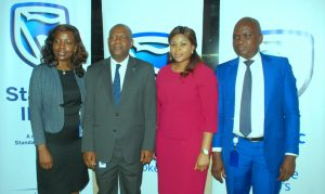 Chief Operating Officer, Sakeenat Bakare;  Chief Executive,  Mr. Anselem Igbo; Head, Business Development, Ibiyemi  Mezu; and Head, Technical Operations, Wale Bello; all of Stanbic IBTC Insurance Brokers Ltd, at a media interactive forum organized by the company in Lagos on Thursday, April 20, 2017