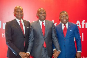 Group Managing Director/CEO, UBA Plc, Mr. Kennedy Uzoka; Group Chairman, Mr. Tony O. Elumelu; and   Deputy Managing Director, Mr. Victor Osadolor, at the 55th Annual General Meeting of UBA Plc, held in Lagos on Friday
