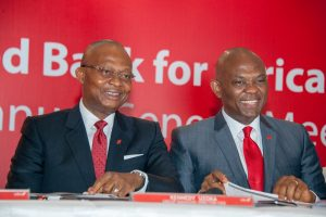 Group Managing Director/CEO, UBA Plc, Mr. Kennedy Uzoka and Group Chairman, Mr. Tony O. Elumelu, at the 55th Annual General Meeting of UBA Plc, held in Lagos on Friday – Thisday and BusinessDay