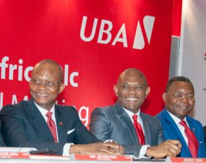 Group Managing Director/CEO, UBA Plc, Mr. Kennedy Uzoka; Group Chairman, Mr. Tony O. Elumelu;  and Deputy Managing Director, Mr. Victor Osadolor at the 55th Annual General Meeting of UBA Plc, held in Lagos on Friday