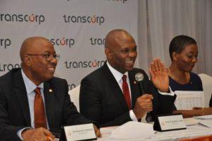 l-r: President/CEO Transcorp Plc, Emmanuel Nnorom, Chairman, Transcorp Plc, Tony O. Elumelu and Transcorp Plc. Group Company Secretary, Helen Iwuchukwu at Annual General Meeting of Transnational Corporation of Nigeria.