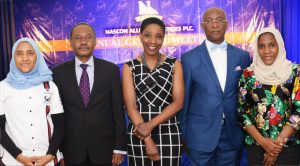 L-R: Executive Director Commercial, NASCON Allied Industries Plc, Fatima Dangote; Director, NASCON Allied Industries Plc, Olakunle Alake; Chairperson, NASCON Allied Industries Plc, 'Yemisi Ayeni; Director, NASCON Allied Industries Plc, Prof. Chris Ogbechie; and Director, NASCON Allied Industries Plc, Halima Dangote at the NASCON Allied Industries Plc 2016 Annual General Meeting (AGM) held on Thursday, May 4, 2017 in Lagos.