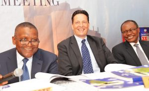 L-R: Chairman, Dangote Cement Plc, Aliko Dangote; Chief Executive Officer, Dangote Cement Plc, Onne van der Weijde; and Director, Dangote Cement Plc, Olakunle Alake; at the 8th Annual General Meeting of Dangote Cement Plc, held in Lagos on Wednesday, May 24, 2017