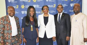 L-R:  Chief Eric Umeofia, President & CEO, Erisco Food Ltd; Tara Fela-Durotoye, Founder & CEO, House of Tara; Mrs. Ibukun Awosika, Chairman, FirstBank; Gbenga Shobo, Deputy Managing Director, FirstBank; and Abdulahmed Mustapha, Permanent Secretary, Lagos State office of Overseas Affairs & Investment at the SME Conference organised by the FirstBank Sustainability Centre.