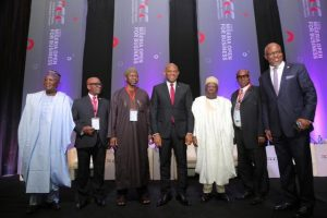 l-r: Chairman House Committee on Insurance, Hon. Olufemi Fakeye; President of Nigerian Council of Registered Insurance Brokers, Mr Kayode Okunoren; Commissioner for Insurance,  Muhammed Kari;  Chairman,  Heirs Holdings and Keynote Speaker, Mr. Tony Elumelu; representative of Minister of Finance, Permanent Secretary, Federal Ministry of Finance,  Dr. Mahmud Isa  Dutse; President,  Institute of Loss Adjusters of Nigeria,  Mr Ralph Opara; and Mr Shola Tinubu, Chairman of National Insurance Conference Planning Committee. at the 2017 Insurance Industry Consultative Council Conference( IICCC), with the theme 'Nigeria Open for Business', organised by National Insurance Commission, held at Transcorp Hilton, Abuja on Monday