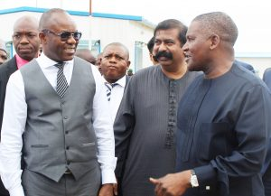 L-R: Honourable Minister of State for Petroleum Resources, Dr. Ibe Kachikwu; Group Executive Director, Strategy, Capital Projects & Portfolio Development, Dangote Industries Limited, Devakumar Edwin; and President/CE, Dangote Industrie Limited, Aliko Dangote, during the Minister of State for Petroleum Resources working visit to Dangote Oil Refinery, Petrochemical and Fertilizer Projects in Lekki, Lagos on Monday, July 31, 2017.