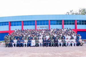 """Jaji 1: Chairman, Heirs Holdings and Guest Speaker, Mr. Tony Elumelu (middle); Commandant, Armed Forces Command and Staff College, Jaji, Air Vice Marshall Suleiman Abubakar Dambo ; and Deputy Commandant, Armed Forces Command and Staff College, Jaji, Rear Admiral Ifeola Mohammed ), flanked by the course participants of the Senior Course 40 of the Armed Forces Command and Staff College, during the Guest Lecture Series of the College where Elumelu delivered a paper titled """"Leadership: Private Sector Perspective"""",  in Jaji, Kaduna, yesterday."""