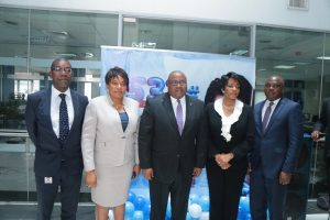 Keystone Bank's Acting Managing Director/Chief Executive Officer, Mr. Hafiz Bakare (m) with other members of the management team at the official launching of Keystone Bank's *533# USSD banking solution in Lagos on Monday.)