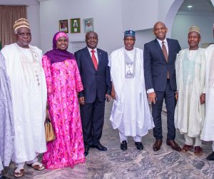 "l-r: Vice Chancellor, Usmanu Danfodiyo University, Sokoto, Professor Abdullahi Abdu Zuru; Regional Director, United Bank for Africa (UBA) Plc, Hajiya Aisha Na'Allah; Executive Director, North, UBA Plc. Ibrahim Puri; Executive Governor, Sokoto State, Alhaji Aminu Tambuwal; Chairman, UBA Plc and Founder, The Tony Elumelu Foundation, Tony O. Elumelu; and Former Executive Director, UBA Plc, Alhaji Abdulqadir J. Bello when Tony Elumelu paid a courtesy visit to the Governor ahead of the National Dialogue Series where Elumelu  spoke on ""Entrepreneurship: An Antidote to Nigerian Youth Unemployment"", at the Usmanu Danfodiyo University in Sokoto on Saturday"