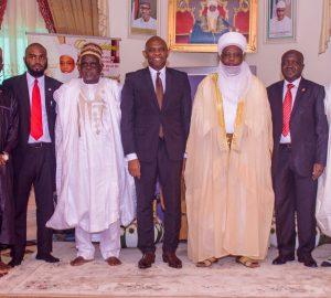 "l-r: Usmanu Danfodiyo University, Sokoto (UDUS) Alumni & Tony Elumelu Entrepreneur, Dr, Shadi Sabeh ;Vice Chancellor, Usmanu Danfodiyo University, Sokoto (UDUS), Professor Abdullahi Abdu Zuru; Chairman, UBA Plc and Founder, Tony Elumelu Foundation, Tony O. Elumelu; The Sultan of Sokoto, Sa'ad Abubakar III; and Executive Director, North, UBA Plc. Ibrahim Puri, when Tony Elumelu paid a courtesy visit to the Governor ahead of the National Dialogue Series where Elumelu  spoke on ""Entrepreneurship: An Antidote to Nigerian Youth Unemployment"", at the Usmanu Danfodiyo University in Sokoto on Saturday"