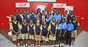 Head, Brand Management, United Bank for Africa, Mr. Toruka Osadunkwu; Director, Marketing and Corporate Relations and Chief Executive Officer, UBA Foundation, Mrs Bola Atta ; Deputy CEO, Anglophone Africa, UBA Plc, Mr Ebele Ogbue; and Group Head,  External Relations, UBA Plc, Mr. Nasir Ramon flanked by students from various schools in Lagos during the Launch of the 2017, UBA Foundation National Essay Competition held at the UBA House in Lagos on Tuesday