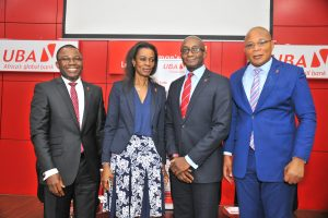 Head, Brand Management, United Bank for Africa, Mr. Toruka Osadunkwu; Director, Marketing and Corporate Relations and Chief Executive Officer, UBA Foundation, Mrs Bola Atta ; Deputy CEO, Anglophone Africa, UBA Plc, Mr Ebele Ogbue; and Group Head,  External Relations, UBA Plc, Mr. Nasir Ramon, during the Launch of the 2017, UBA Foundation National Essay Competition held at the UBA House in Lagos on Tuesday