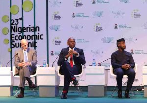 John Rice, Vice Chairman GE; Tony Elumelu, Chairman Heirs Holdings and Vice President Of Nigeria, Professor Yemi Osibanjo during the  preliminary panel discussion titled: Opportunities, Productivity and Employment: Actualising the Economic Recovery and Growth Plan, at the  23rd Nigerian Economic Summit in Abuja on Monday;
