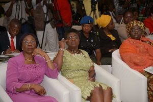 (L-R) Mrs. Abiola Liadi, Permanent Secretary, Lagos State Ministry of Women Affairs and Poverty Alleviation; Mrs. Joyce Onafowokan, Special Adviser to the Lagos State Governor on Social Development; and Dr. IdiatAdebule,Her Excellency, the Deputy Governor,Lagos State; at the Stakeholders Summit held on Ability in Disability: A Stitch in Time Saves Nine at Civic Centre, Lagos on …Tuesday
