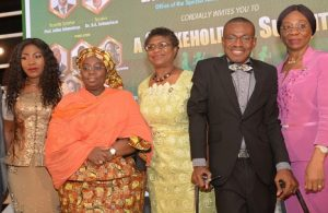 (L-R) Mrs. ArinolaOluwo, representative of His Excellency, the Executive Governor of Lagos State, Mr. AkinwunmiAmbode;Dr. IdiatAdebule,Her Excellency, the Deputy Governor,Lagos State;Mrs. Joyce Onafowokan, Special Adviser to the Lagos State Governor on Social Development; Mr. Daniel Onwe, Lead Partner, Daniel &Sophina Legal Practitioners; and Mrs. AbiolaLiadi, Permanent Secretary, Lagos State Ministry of Women Affairs and Poverty Alleviation;at the Stakeholders Summit held on Ability in Disability: A Stitch in Time Saves Nine at Civic Centre, Lagos on …Tuesday