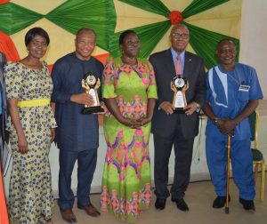 L-R: Member, Department of Languages, Linguistics and Literary Studies, Federal University Ndufu-Alike, Ikwo Ebonyi State (FUNAI); Akachi Adimora-Ezeigbo; Guest Speaker and Professor, Marquette University, USA, Prof Chima J. Korieh; Dean, Faculty of Humanities, FUNAI, Prof GMT Emezue; CEO, Heirs Holdings, Emmanuel Nnorom representing the Guest Speaker and Founder, Tony Elumelu Foundation, Tony O. Elumelu; and Director, School of Foundation Studies, FUNAI, Prof Michael Onuu at FUNAI's 2017 Faculty of Humanities International Conference held at the University's Auditorium in Ndufu-Alike, Ikwo Ebonyi State on Tuesday.