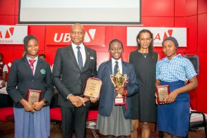 l-r: 1st Runner-up 2017 UBA Foundation National Essay Competition and student of ENAL International Schools, Miss Deborah Chinwendu Innocent; GMD/CEO, United Bank for Africa (UBA)  Plc, Mr. Kennedy Uzoka; Overall Winner and Student of British Nigerian Academy, Miss Samuella Sam-Orlu; Managing Director/CEO, UBA Foundation, Bola Atta; and 2nd Runner-up and Student of Nigerian Christian Institute, Miss Yahofon Ettah Essien during the Grand finale and prize giving ceremony held at UBA House in Lagos on Monday