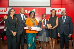 l-r: Group Head, Human Resources, UBA Plc, Patricia Aderibigbe; GMD/CEO, UBA Plc, Mr. Kennedy Uzoka; Guardian of the Overall Winner, Jacqueline Uzoadibe; Overall Winner of the 2017 UBA Foundation National Essay Competition and Student of British Nigerian Academy, Miss Samuella Sam-Orlu; Managing Director/CEO, UBA Foundation, Bola Atta; and Group Head, Secretariat & Corporate Services, UBA Plc, Bili Odum during the Grand finale and prize giving ceremony of the UBA Foundation National Essay Competition  held at UBA House in Lagos on Monday
