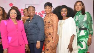 L - R -  Folorunso Alakija, Founder, Flourish Africa; Abimbola Fashola, Former First Lady, Lagos State; Chioma Afe, Head, Corporate communications, Diamond bank Plc; Toyin Bello, Photographer/Songwriter; and Patricia Obozua, Director, Communication/Public Affairs, sub-Saharan Africa, General Electric at the Flourish Africa Conference held in Lagos recently.