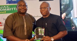 "L-R: CBN Deputy Governor Operations, Mr. Adebayo Adelabu presenting award ""For Sustainable Transaction of The Year in Agriculture"" to the MD/CEO of Heritage Bank, Mr Ifie Sekibo, who was represented by the Executive Director of the bank, Mr Jude Monye at the inaugural Nigeria Sustainable Banking Award convened by the Central Bank of Nigeria, during Bankers Committee Meeting held in Lagos."
