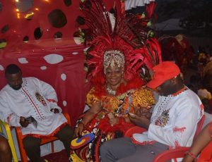 """Imeh Bishop Umoh (Okon Lagos) and Senator Florence Ita-Giwa, Leader of The Seagull Band, during the 2017 annual Calabar Carnival, themed """"Migration and Climate Change, which Heritage Bank was the Lead sponsor of the band, held at the Calabar International Conference Center, Cross River State."""