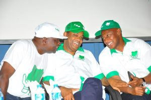 From left: Former Governor of Osun State, Prince Olagunsoye Oyinlola; Former Cross Rivers State Governor, Donald Duke and Coordinator, Coalition for Nigeria Movement, Omoruyi Edoigiwerie during the launching of the coalition for Nigeria Movement held in Abuja yesterday.