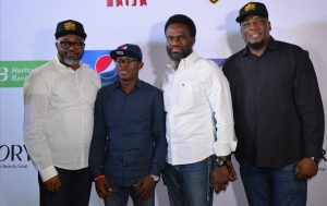 (L-R) John Ugbe, Managing Director, Multichoice Nigeria; Segun Ogunleye, Senior Brands Manager, Pepsi; Fela Ibidapo, Group Head, Corporate Communications, Heritage Bank and Martin Mabutho, General Manager, Marketing & Sales, Multichoice Nigeria, during the launching of Big Brother Naija- Season 3, which Heritage Bank is one of the lead sponsors, weekend in Lagos.