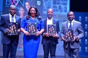 L-R: Chief Executive, Stanbic IBTC Holdings PLC, Mr Yinka Sanni; Chief Executive, Stanbic IBTC Trustees Limited, Binta Max-Gbinije; Head, Credit, Corporate and Transactional Banking, Stanbic IBTC Bank, Mr Kola Lawal; and Chief Executive, Stanbic IBTC Bank PLC, Dr Demola Sogunle, at the launch of Stanbic IBTC Blue Women Network magazine in Lagos, over the weekend.