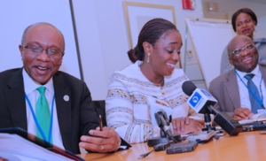 BRIEFING—From left: CBN Governor, Mr Godwin Emefiele; Head of Nigerian Delegation and Minister of Finance, Mrs Kemi Adeosun and the Permanent Secretary at the Ministry of Finance, Mr Mohammed Duste, during post-World Bank and IMF 2017 Annual meeting press briefing, held in Washington DC, USA, yesterday. PHOTO. State House Photo.