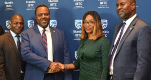 Pic 1 & 2: L-R: Executive Director, Operations, Steve Elusope; Chief Executive, Eric Fajemisin; Head, Business Development, Nike Bajomo; and Executive Director, Investments, Oladele Sotubo, all of Stanbic IBTC Pension Managers Limited, during the Pension Fund Administrator's media forum in Lagos on Monday, 28 May 2018