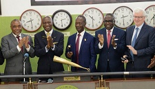Chief Executive Officer of The Nigerian Stock Exchange (NSE) Oscar Onyema, Group Managing Director/ Chief Executive Officer Dangote Cement Plc, Engr. Joseph Makoju, at the  Dangote Cement Plc Closing Gong Ceremony, Floor of  Nigerian Stock Exchange Lagos on 6th June 2018.
