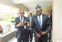 Babcock 3: Chairman, NOVA Merchant Bank Limited and Convocation Lecturer, Mr. Phillips Oduoza (left) being received by the President/Vice Chancellor,  Babcock University , Ilisan Remo, Professor Adeola S. Tayo on his arrival in Babcock University for its University Convocation Lecture held at Ilisan Remo on Wednesday